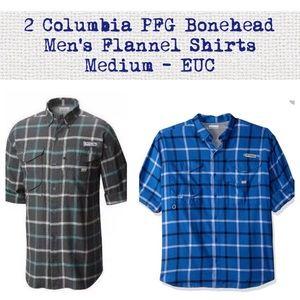 2 COLUMBIA Men's PFG Plaid Flannels M-Green/Blue
